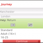 Search the trains with VirginTrain Tickets App for BlackBerry