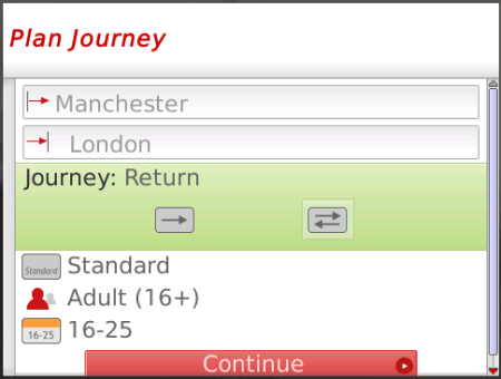 BlackBerry VirginTrain Tickets App