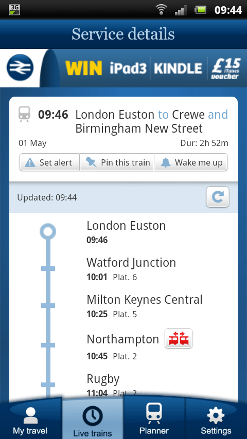 Review of National Rail Enquiries App for Android