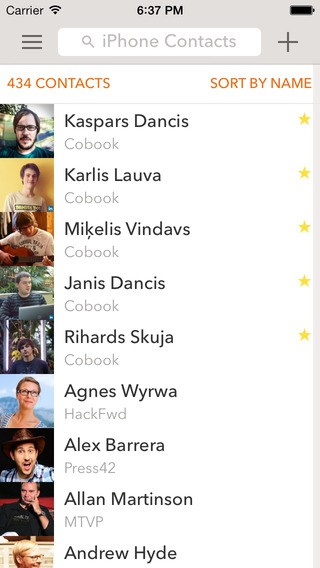 Cobook Contacts App for iPhone
