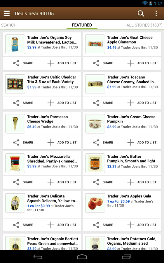 android app share shopping lists