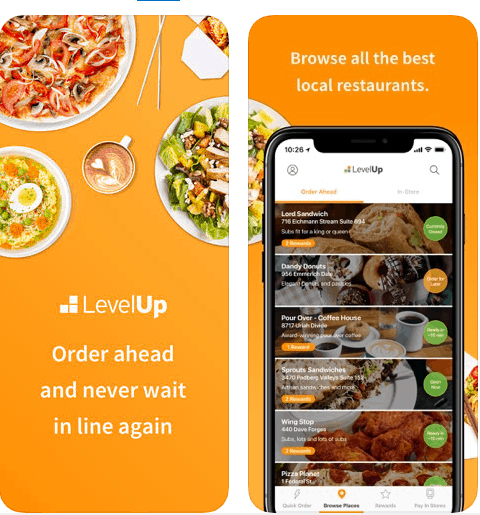 LevelUp Order Food Ahead iPhone App