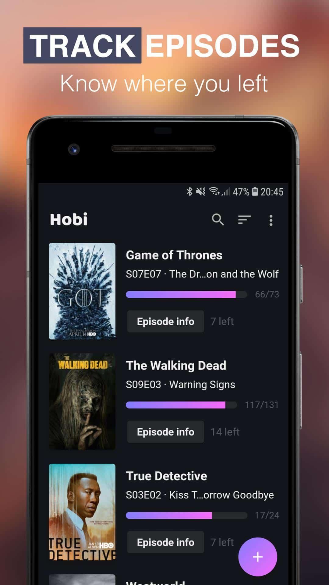Hobi TV Series Tracker Android App